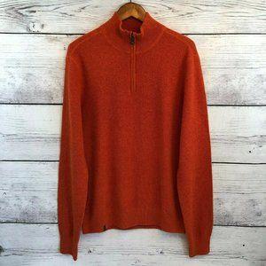 Qor Cashmere Sweater Mens Large Orange Textured